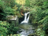 Rydal Hall, waterfall and poets' 'viewing hut'