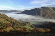 Cloud inversion over the head of Ullswater nearly obscuring  Patterdale Hall